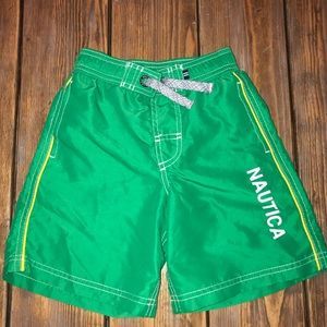 Boys Nautica Size 4 Green Swim Trunks